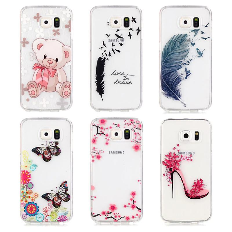 For Samsung Galaxy S6 Case Silicone Transparent Cartoon Flowers Phone Case For Samsung Galaxy S6 Cover case Cute Bear Patterns(China (Mainland))