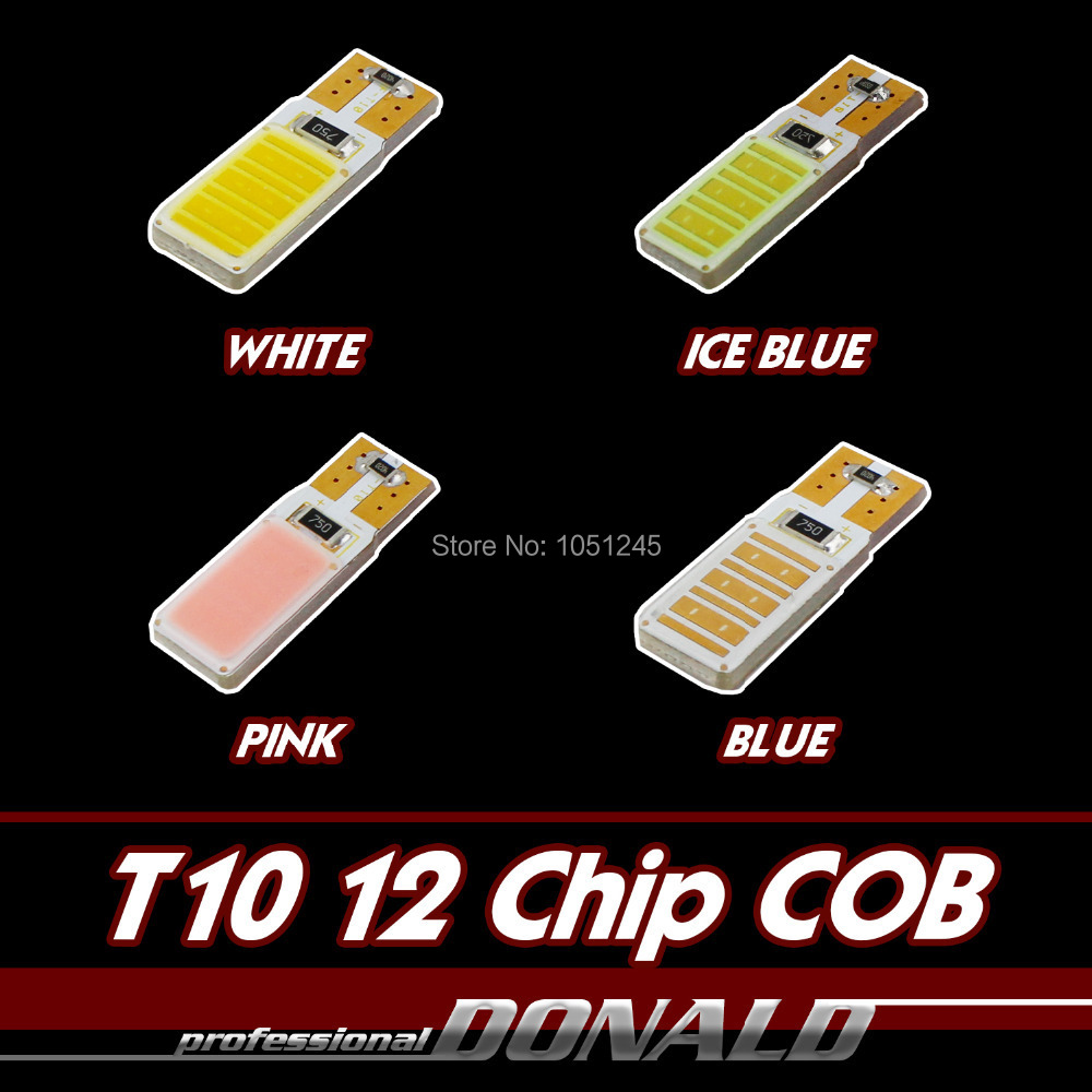 4x T10 COB Canbus Error Free W5W Wedge LED Car Interior Dome Map Light Reverse Backup License Plate White/ Ice Blue/Blue/Pink - Donald Mall store