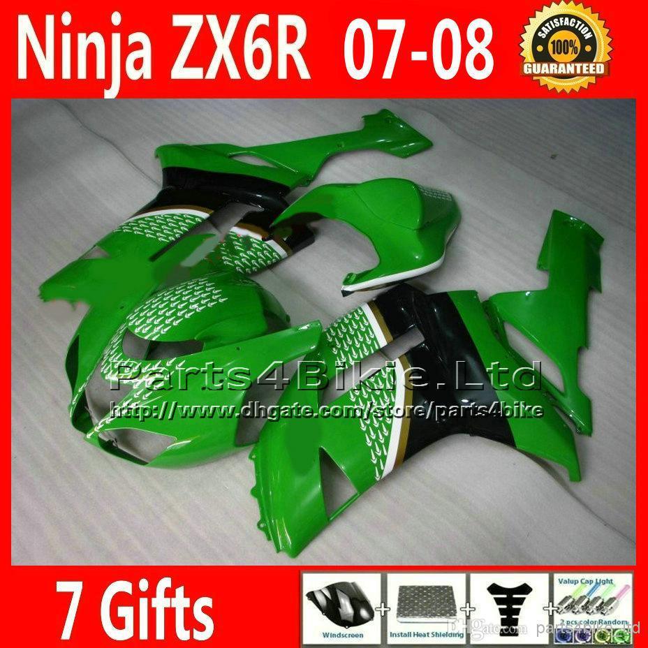 Fairing body kits for 2007 2008 Kawasaki ZX6R ABS fairings bodywork set green black 07 08 636 XR36 +7 gifts(China (Mainland))