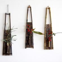 Wall-mounted bamboo flower basket floral wall hanging pendants vasos decorativos vertical garden jardim vertical handmade(China (Mainland))