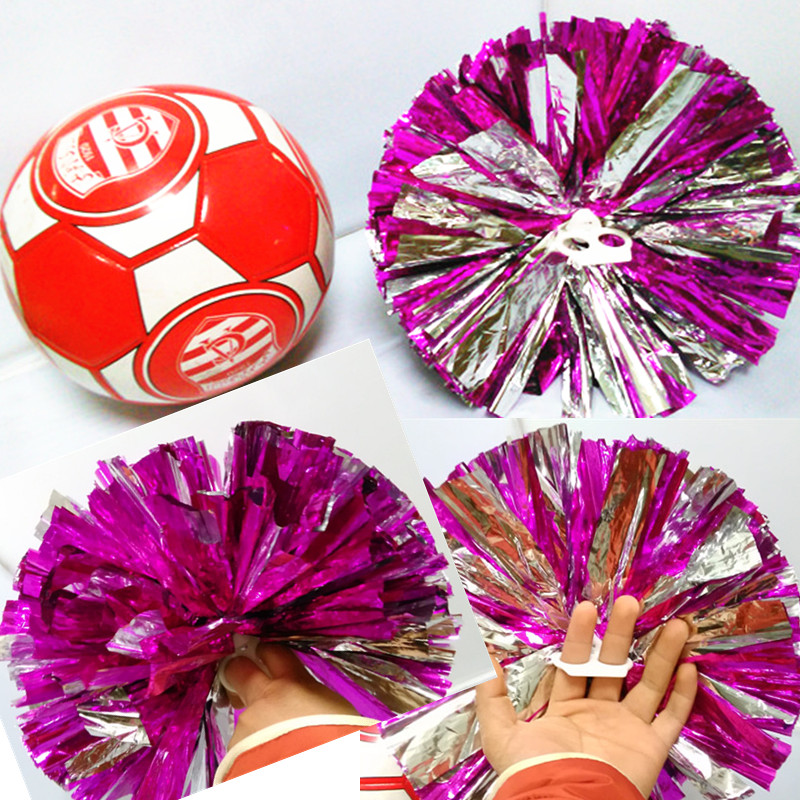 (10 Pieces/lot) Cheerleader Dancing Pompoms Mixed Color Cheerleading Football Fans Metallic Pom Poms Ring Handle New(China (Mainland))