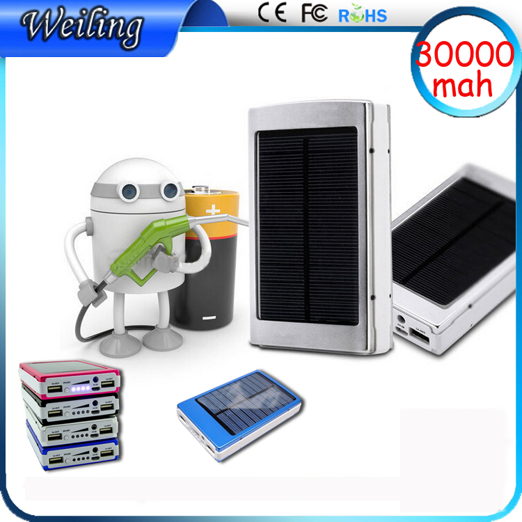 Aluminum alloy solar Fast charger power banks 30000mah Manufacture power bank for smart phone/ipad Brand power bank(China (Mainland))