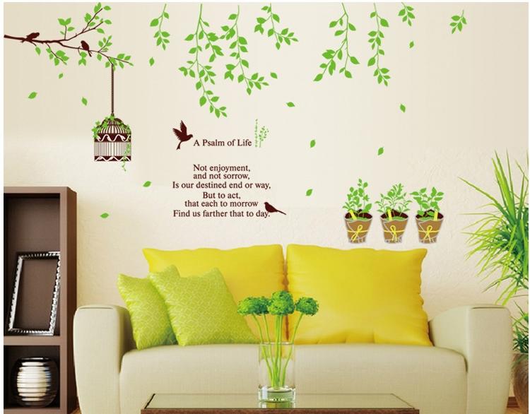 Large tree plants wall sticker birds birdcage pvc for Diy tree wall mural