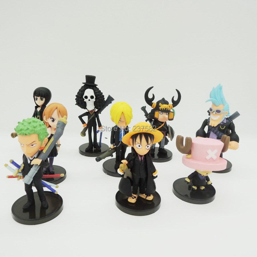 Anime One Piece Tony Chopper Luffy PVC Action Figure Model Toy 8cm 9pcs/lot(China (Mainland))