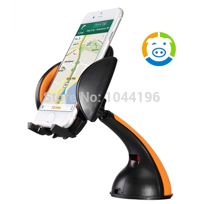 LENTION Windshield Universal Cell Phone Car Mount 360 Degree Rotating Holder for iPhone 6 5 4 Samsung and all GPS Device Orange(China (Mainland))