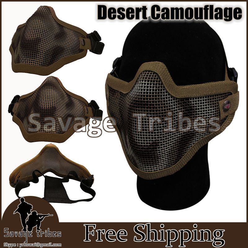 Real CS game wire half a face shield Outdoor paintball gun mask BB Gun game Protection / decoration lower half of the face(China (Mainland))