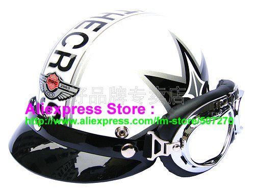 P.20 Fashionable Half Vespa Cycling Half Face Motorcycle White # Grapheme Helmet Casco & UV Silver Goggles Adults M , L , XL(China (Mainland))