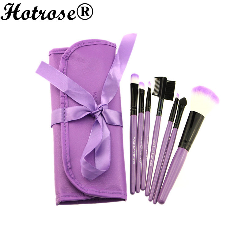 *US SHIP* 7pcs/set Professional Soft Cosmetic Makeup Brush Pinceaux Maquillage Set Blush + 1 x Pouch Bag Case(China (Mainland))