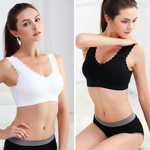 Women Sport Gym Yoga Athletic Padded Soft Bra Lace Leisure Crop Top Stretch Vest