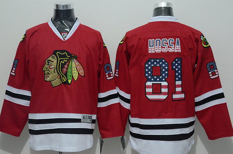 Chicago Black hawks #81 Marian Hossa Men's NHL Jersey Limited Flag Edition Ice Hockey Jersey 100% Stitched Logos Free Shipping