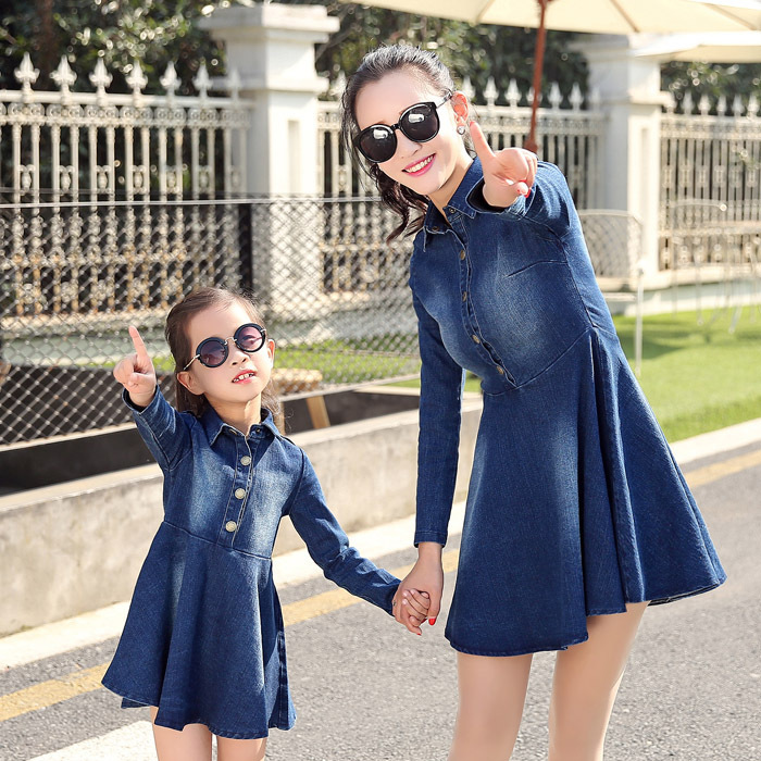 2016 summer spring mommy and me casual denim dress mother daughter  belt dresses girls  &amp; women party clothes<br><br>Aliexpress