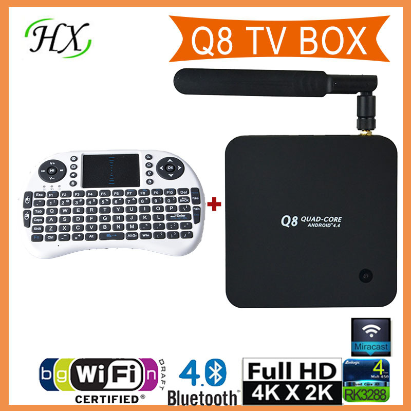 Q8 Android TV BOX RK3288 Quad Core Mail-T7 2GB+8GB 4K*2K H.265 Support 3D movie Bluetooth XBMC with remote control+i8 keyboard(China (Mainland))