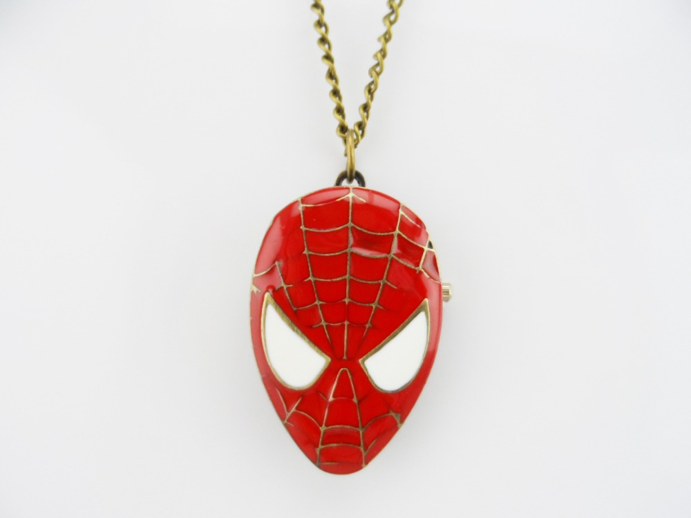 Hot movie Spiderman pocket watch necklace super hero long chain statement Necklace Pendant 12pc/lot<br><br>Aliexpress