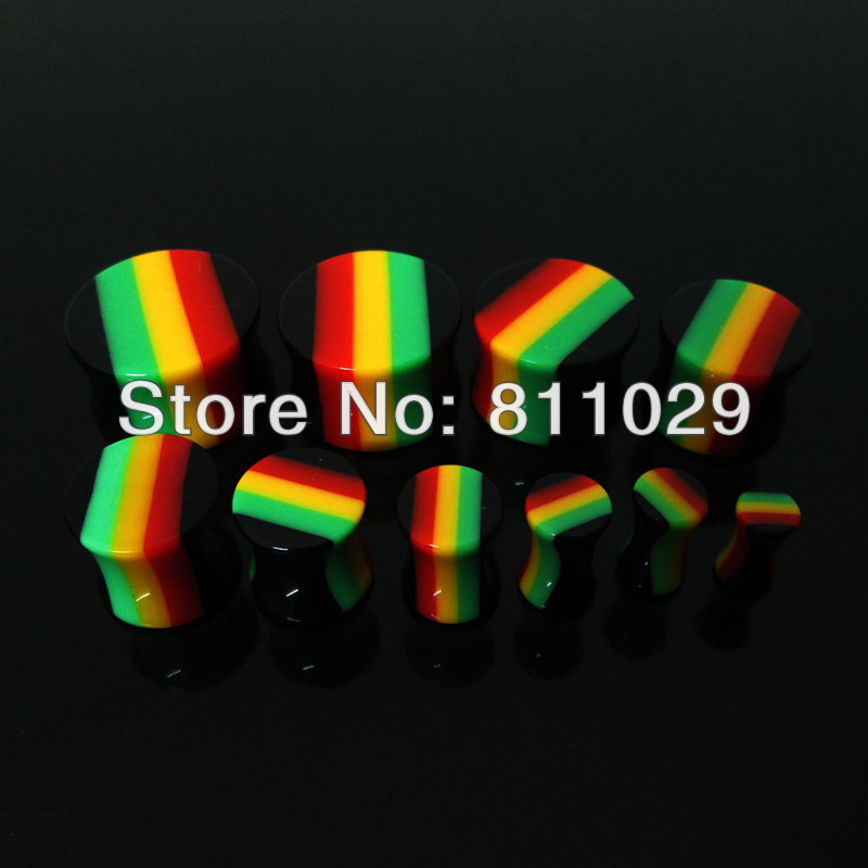 wholesale Hot free shipping 200pcs mixed 10 gauges rasta color UV acrylc saddle ear plug reggae ear expander<br><br>Aliexpress