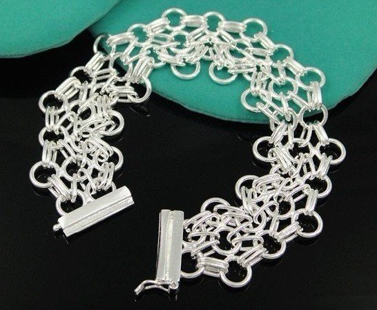 wholesale 925 Silver Wide Net Cocktail bracelet Free shipping 925 jewelry    B188