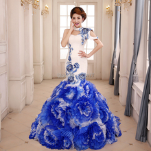 New!!Blue and white porcelain Design Evening Dress Costume Plus Size Mermaid Evening Dress Sleeveless Silk Dress with Shawl(China (Mainland))