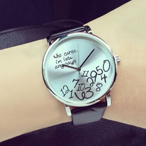 Hot Women's Qualified Designed Who Cares Faux Leather Arabic Numerals Letters Printed Watches(China (Mainland))