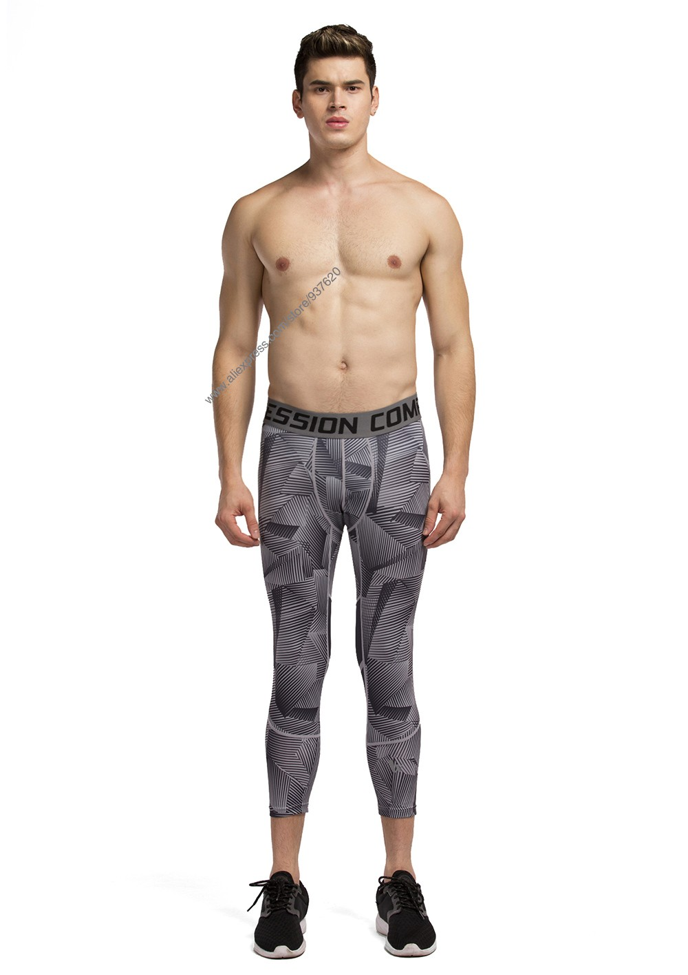 Vansydical Geometric Skinny Sport Yogo Fight Shorts for Men (1)