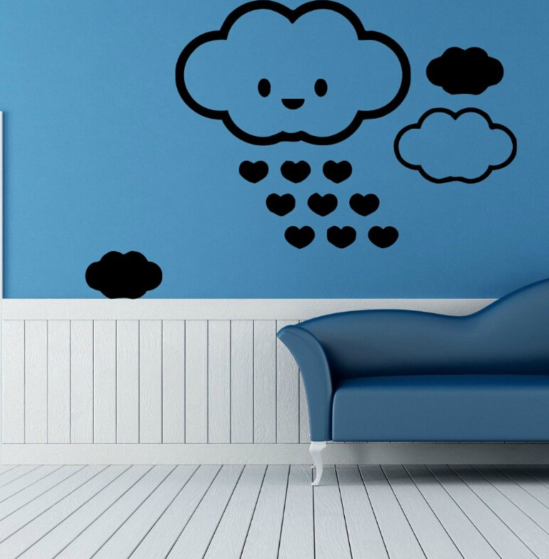kids room Wall Stickers Vinyl Decal Nursery Cloud And Hearts Free shipping(China (Mainland))