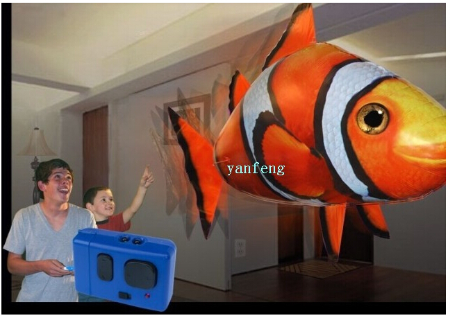 Free shipping rc remote control inflatable air flying fish for Air swimming fish