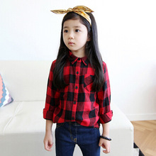 2016 New fashion comfortable childrens baby girl clothing girls tops blouses 100% cotton classic red plaid boys kids shirt(China (Mainland))