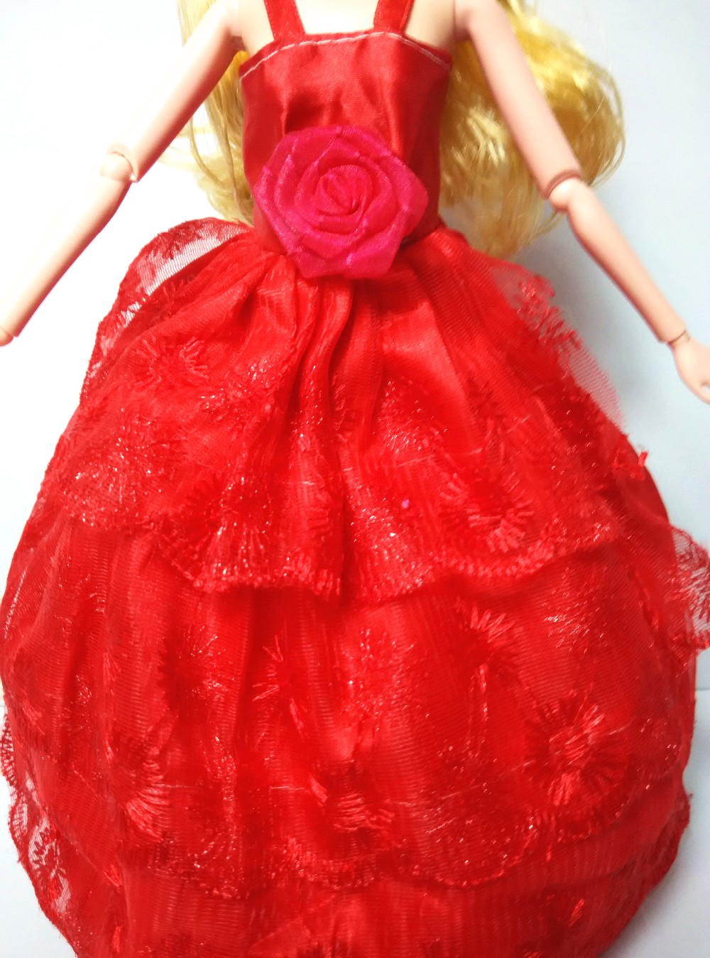 2016 New handmade Lovely Elegant Marriage ceremony Attire Yarn Garments Night Gown for Barbie Lady Dolls Free Transport Rose Pink