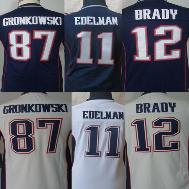 2016 Youth Best quality 100% Stitiched,New England Patriots,12# Tom Brady, #87 Rob Gronkowski #11 Julian_Edelman,blue white kids(China (Mainland))
