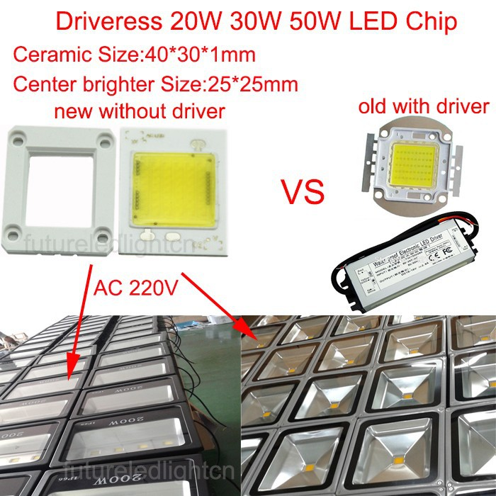 220V Driverless ceramic cob module chips 20W 30W 50W high power led PCB assemble floodlights source/beads triac dimmable(China (Mainland))