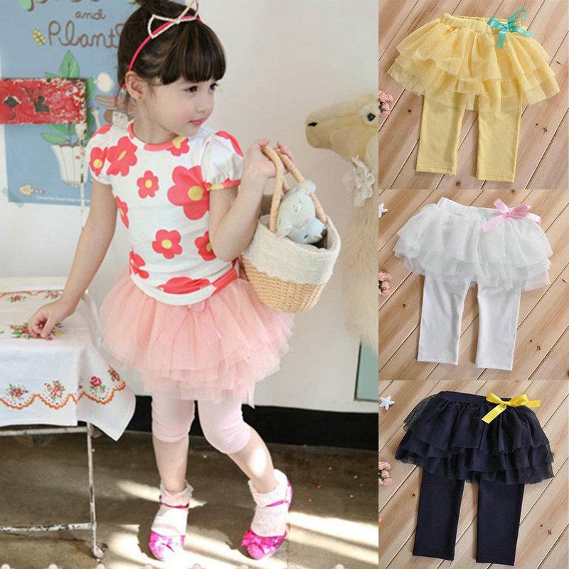 Zehui 2-7Y Baby Culottes Kids Girl Tulle Tutu Skirt Capri Pants Leggings Trousers(China (Mainland))