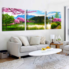 No Frame 3 Panels Modern Peach lake landscape Painting On Canvas Wall Art Cuadros Picture Home Decor For Living room and bedroom(China (Mainland))