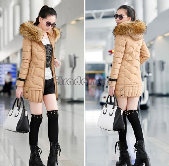 Women's New Fashion Winter Faux Fur Hood Down Coat Long Slim Jacket Thicken Warm Parka b6 CB030683