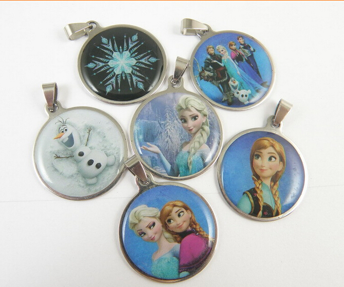 Здесь можно купить  Frozen necklace pendants with Elsa sticker Metal oval shape pendants Snow Queen pendant newest style wholesales 60  Ювелирные изделия и часы