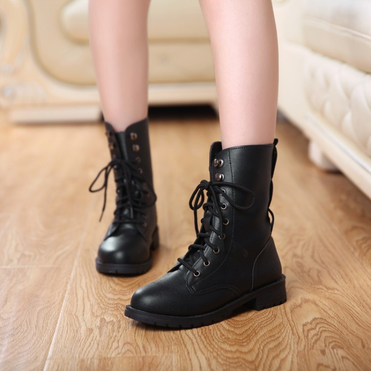 New Arrival Women Ankle Martin Boots Med Heels Short Unisex Boots Round toe Black Flats Fashion Style(China (Mainland))