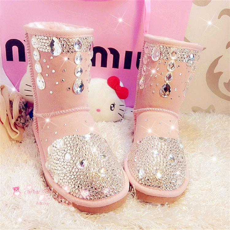 2016 New high quality sweet wedding shoes genuine leather rhinestone women boots round toe winter shoes crystal lady snow boot<br><br>Aliexpress