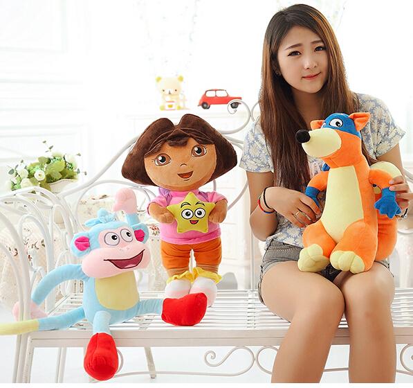 Dora la exploradora 3 unids/set Dora Girl & Monkey y Swiper Fox historieta de la felpa suave muñecas de juguete de regalo a los niños(China (Mainland))