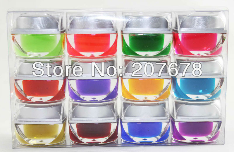 Free Shipping 12 Mix Colors Glaze UV Builder Gel Nail Art Tips 8ml(China (Mainland))