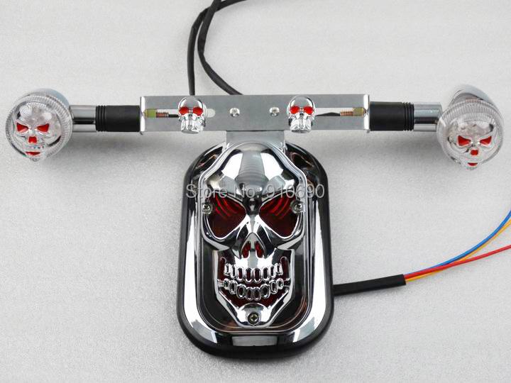 NEW Set Rear Fender Custom Chrome 3D Skull Tail Lights LED Skull Turn Signals For Harley Night Train Road Glide Rocker Softail(China (Mainland))