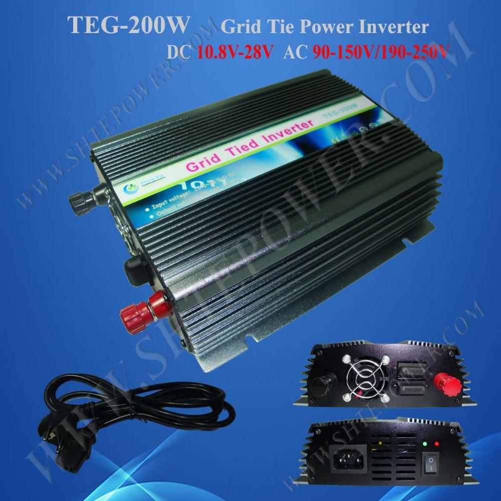 grid tie pv inverter 200w dc 10.8-28v to ac 110v/220v grid tie inverter solar(China (Mainland))