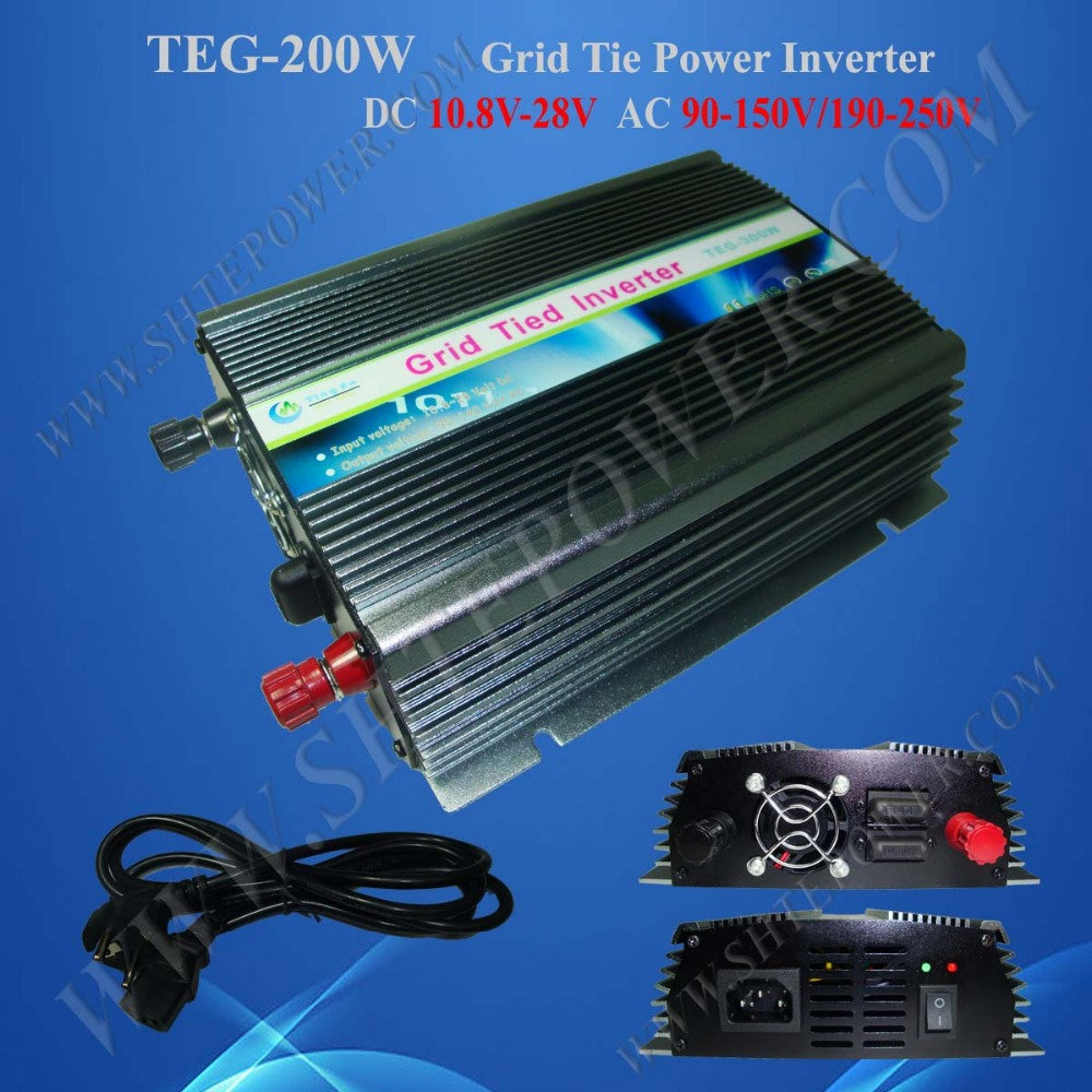 grid tie pv inverter 200w dc 10.8-28v to ac 110v/220v grid tie inverter solar(China (Mainland))