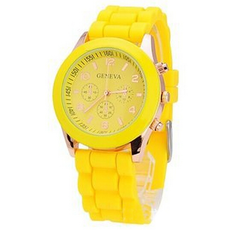 New Brand Yellow Quartz Watch Women Ladies Girl Gifts Dress Silicone Hous Clock Wrist Watches, Free Shipping(China (Mainland))
