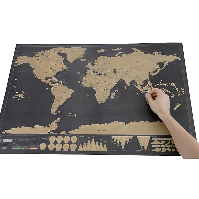 Deluxe Black Scratch Map World Map Post Gift For Travelers Room – World Map Gifts For Travelers