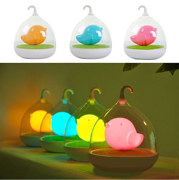Lovely Birdcage Lamp Gadget LED USB Rechargeable Touch Sensor Dimmer Baby Night Light Bedside Decorative Lamp luminaria de mesa(China (Mainland))
