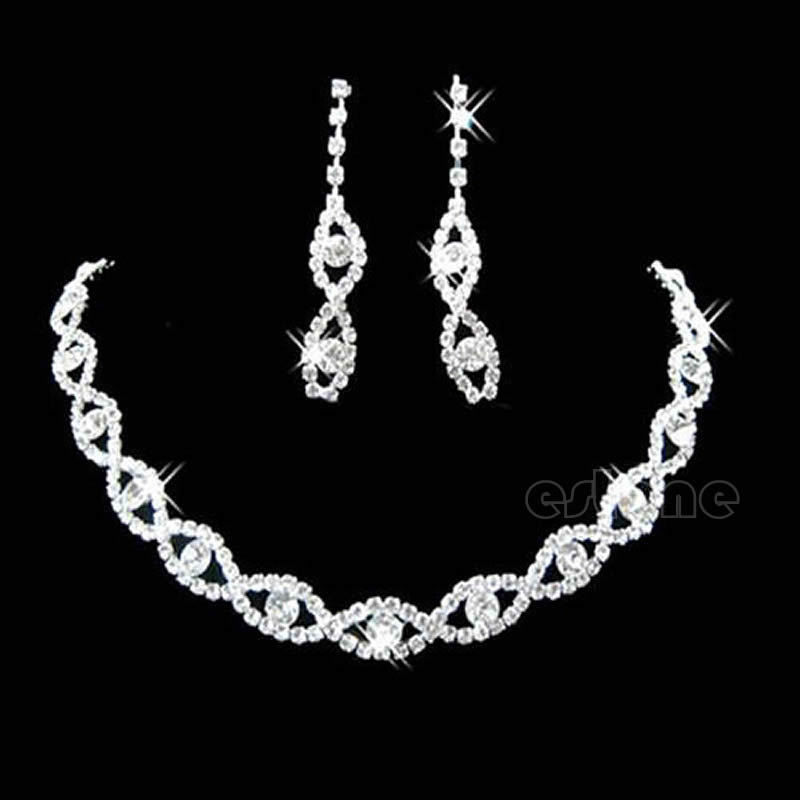 A17Free Shipping Bridal Wedding Party Twisted Jewllery Crystal Rhinestone Necklace & Earring(China (Mainland))