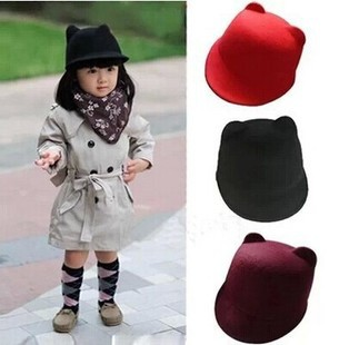 52cm 54cm New 2014 Children Devil Hat Punk Fashion Unique Lovely Cute Kitty Cat Ears Wool Derby Bowler Hat Cap(China (Mainland))