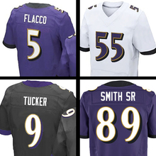 #89 Steve Smith Sr Jersey #5 Joe Flacco #55 Terrell Suggs #9 ustin Tucker Purple Black White Elite 100% Stitched Jerseys Adult(China (Mainland))