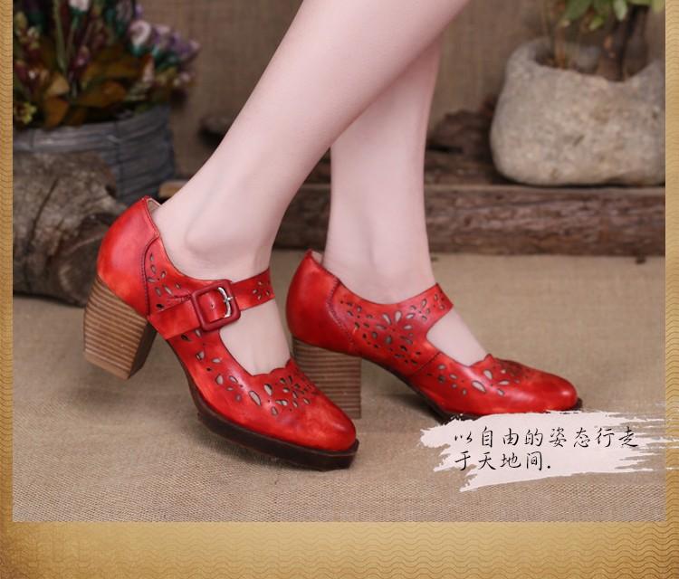 2017 Vintage Style Women Shoes Cut Outs Platform Pumps Genuine Leather Buckle High Heel Shoes