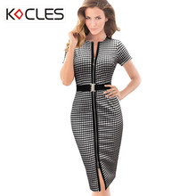 Spring Summer Womens Belted Check Front Zipper Slit Tunic Tartan O Neck Work Business Casual Party Pencil Bodycon Sheath Dress