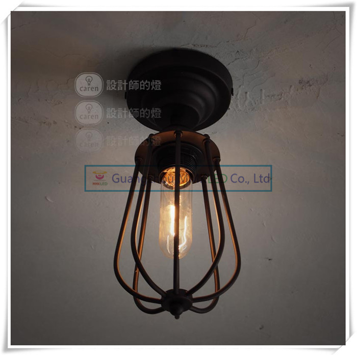 Vintage European rural countryside Creative Arts iron ceiling lamps lighting living room bedroom E27<br>