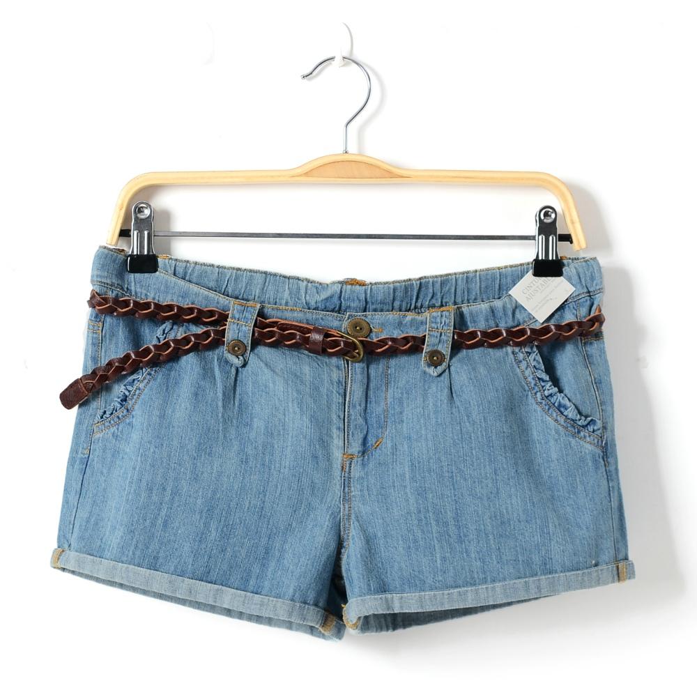 summer girls denim ruffle shorts pants kids hot pant children cotton wide leg short Jeans mini trouserswith belt 8 10 12 14 16T(China (Mainland))