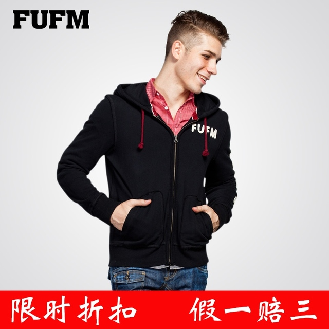 Fufm sweatshirt men's clothing 100% male cotton zipper-up fleece thermal with a hood outerwear